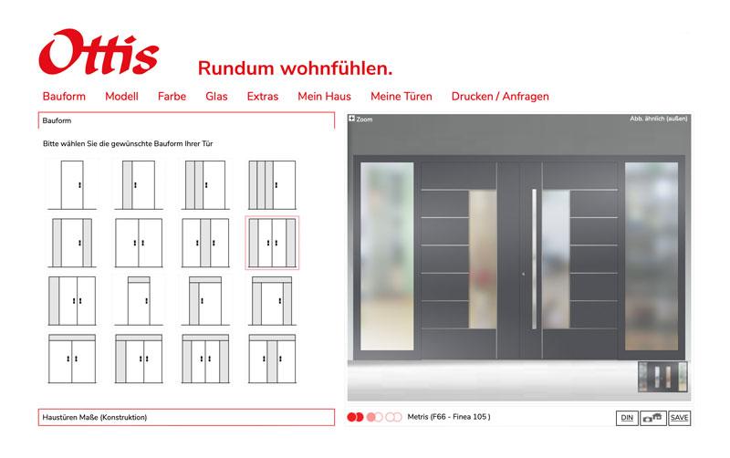 Türenkonfigurator auf der Ottis Webseite